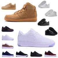 sapatos unisex para mulheres venda por atacado-2019 Nike Air Force one 1 Af1 Mais novo de alta forçado das mulheres dos homens baixos sapatos de malha Respirável um unisex 1 malha Euro mens das mulheres designer sapatos basketba