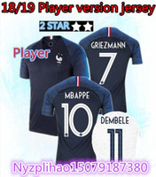 joueur achat en gros de-Version joueur! 2 étoiles Maillot de foot pogba de la Coupe du monde 2018 home BLUE 18 19 Maillots de foot MBAPPE GRIEZMANN KANTE