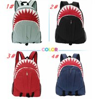 Wholesale unique canvas backpacks - Shark mouth 3D cartooon Backpack Unique Design Student Boy girl 3D Mouth Cartoon backpack School Kids Outdoor Backpack FFA256 4colors 5pcs