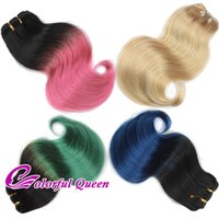 Wholesale Short Ombre Weave - 300g Lot Short Ombre Human Hair Bundle Body Wave Pink Green 613 Platinum Blonde Blue Ombre Human Hair Weave Bundles Cosplay Body Wave 6pcs