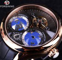 relógios mens tourbillion venda por atacado-Forsining 2016 Terra Real Tourbillion Multi-dimensional Designer Mens Relógios Top Marca de Luxo Moda Casual Relógio Automático