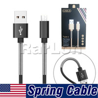 Wholesale packaging netting - 1M Micro USB Type C Cable Charger Port Data Sync 2A Fast Charging Spring Metal Fish Net Charging Charger Cable With retail package