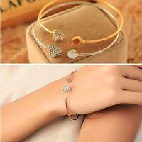 liebe herz kristall armband armreif großhandel-Frauen-Mode-Art-Legierungs-Goldsilber-Rosen-Goldfarbrhinestone-Liebes-Herz-Armband-Manschetten-Armband-Herz-Kristallarmbänder