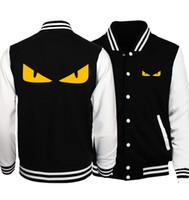 casaco amarelo dos homens venda por atacado-Homens Casaco Amarelo Pequeno Monstro Olhos Dos Homens Dos Desenhos Animados Casacos De Beisebol Moda Primavera Homens Naruto Casaco Hip Hop Slim Fit S.A.O Jacket