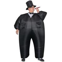 carnaval vestido homem venda por atacado-Inflável Tuxedo Preto Terno Gordura cavalheiro Chub Fancy Dress Divertido Brinquedo Halloween Carnaval Trajes Cosplay para As Mulheres Homem Adulto