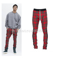 Wholesale Leg Panel - fear of god fifth set Scottish grid Joining together Leg zipper Men's Pants FOG Casual pants Justin bieber unisex 3color S-XXL Motion pants
