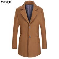 venta de chaquetas de lana para hombre al por mayor-YoFaQC Hot Sale Brand Mens Wool Jacket Warm Overcoat Chaquetas de lana de los hombres de manga larga Outwear Casual otoño invierno Trench Coat
