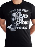 Wholesale lead powder for sale - Narcos Silver or Lead Plata o Plomo Escobar Powder Licensed TV Black Mens Tshirt