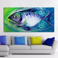 pintura a óleo dos peixes moldada venda por atacado-Arte da parede Pintura Na Lona Pintura de Óleo Animal Peixe Imprime Retratos Da Parede para Sala de estar Decoração de Casa Sem Moldura
