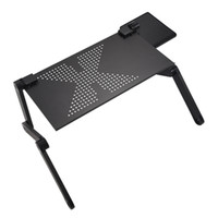 soportes de computadora ajustables al por mayor-YOC-Portátil plegable portátil escritorio computadora mesa soporte bandeja para sofá cama negro