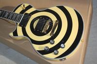 violão esquerdo amarelo venda por atacado-enviar imediatamente mão esquerda preto e amarelo do círculo da guitarra elétrica canhoto