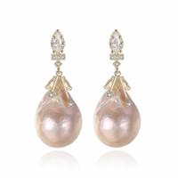 ingrosso orecchini in perle di barocco-Orecchini a forma di perle d'acqua dolce naturali di forma ovale naturale e argento 925 per le donne
