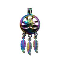 Wholesale rainbow plants - 5pcs Rainbow Color lotus Dreamcatcher Pearl Cage Locket Pendant Essential Oil Diffuser DIY Jewelry Locket For Oyster Pearl