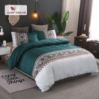 dantel yorgan örtüsü toptan satış-Yavaş Yatağı Yatak Seti Bohemian Dantel Yatak Örtüsü Nevresim Yastık Kılıfı Yorgan AUDıble Kral Yetişkin Yatak Keten Set Yatak Örtüsü