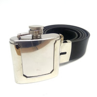 Wholesale leather clothes for black men - Black Pu Leather Belts for men with 2 ounces Stainless Steel Flask Cowboys Belt Buckles Mens clothing accessories Cintos Fivelas