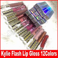 Wholesale glittered lips - kylie Flash Lipstick Lip Gloss Retro Matte Liquid lipstick Lipgloss 12colors flash glitter gloss ANGEL SANDY TWIG MOCHA RUBY WOO