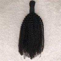 rizado cabello humano indio para trenzar al por mayor-1pc A granel de cabello humano para las mujeres negras Rizado rizado rizado a granel indio para trenzar el negro natural sin trama