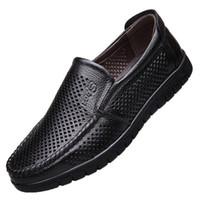 erkek için ofis rahat ayakkabılar toptan satış-Erkek Elbise Ayakkabı Rahat Hakiki Deri Ayakkabı Erkekler Boks Tasarımcısı Nefes İtalyan Klasik Adam Ofis Ayakkabı Erkekler Loafer'lar