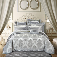 серебряные наборы постельных принадлежностей queen  оптовых-Gold silver color  royal Bedding sets 4/6/9pcs king queen size embroidery cotton satin jacquard bed sheet set duvet cover