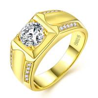 bague plaquée or fanée achat en gros de-Mens anneaux taille 7,8,9,10,11,12 doubles rangées de bijoux en diamant plaqué or hommes bague de mariage blanc cuivre matériel ne se fane