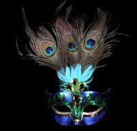 örümcek maskeleri tavuskuşu tüyleri toptan satış-Parti Cadılar Bayramı Cosplay Için Peacock Masquerade Maskeleri Maske Kadın Kadın Lüks Tavuskuşu Tüyleri Yarım Yüz Maskesi Parti Cosplay Kostüm