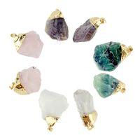 Wholesale purple quartz necklace for sale - Group buy Natural Stone Pendant Necklace Irregular Real Stone Pendant Water Drop Necklace Purple Yellow Rose Quartz Healing Crystals Necklaces