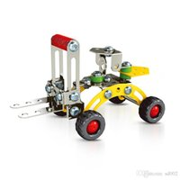 Wholesale lift blocks resale online - Exquisite Tide Toy Bricks Training Children Hands On Ability Building Blocks Metal Aircraft Lift Truck Model D Assembly Toys For Boy ym cc