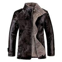 casaco de pele de homens casaco longo venda por atacado-Jaqueta De Couro dos homens 2015 Nova Moda Lazer Outono Inverno PU Na Seção Longa Gola Casaco de Couro Marrom Preto