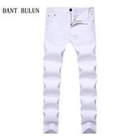 plus größe schwarze skinny jeans großhandel-DANT BULUN 2018 Neue Stretch Dünne Männer Multi Einfarbig Jeans Mode Lässig Schwarz Rot Weiß Blau Khaki Plus Größe Hosen