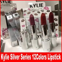 Wholesale Wholesale Cosmetic Pigments - New Kylie jenner holiday cosmetic silver series swipe pigment 12 colors lipstick for christmas Valentine's Day