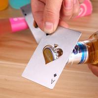 Wholesale poker shapes - Spades A credit card opener Creative poker shape Stainless steel bottle opener Bottle lifting device Bottle opener T4H0303