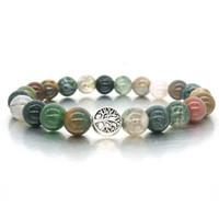 natursteinschmuck indien großhandel-Vintage Silber Baum des Lebens Charms Armband Natürliche Indien Achat Stein Perlen Armband für Männer Frauen Stretch Yoga Schmuck