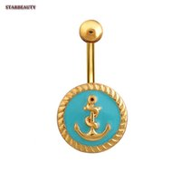 ohrringe golden groihandel-Golden Anchor Navel Piercing Punk Pirsing Ombligo, Sexy-Ohr-Ring-Bauchn Ring-Körper-Piercing Nombril, Tropfen Glaze Pircing
