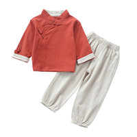 traje de niño chino al por mayor-Trajes tradicionales chinos 2 piezas de ropa para niños conjunto para niños niñas de manga completa traje de algodón sólido Hanfu Tang para niños niños