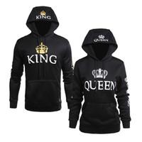 homem de estilo rei venda por atacado-Atacado novo estilo homens e mulheres casuais jaqueta QUEEN KING impressão com capuz de manga comprida amantes camisola hoodies