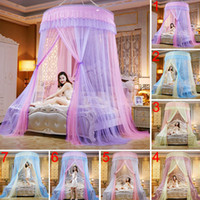 Wholesale adult princess bedding for sale - Group buy Round Lace High Density Princess Bed Nets Curtain Dome Princess Queen Canopy Mosquito Nets Hot Sale
