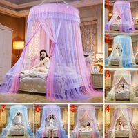 kanopiler için yatak takımı toptan satış-Yuvarlak Dantel Yüksek Yoğunluklu Prenses Yatak Ağları Perde Kubbe Prenses Kraliçe Gölgelik Cibinlik Sıcak Satış