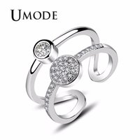 ingrosso anelli di gioielli umode-UMODE Fidanzamento da sposa Regolabile Anelli aperti per le donne Rotonda Crystal Clear CZ Accessori gioielli in pietra bague UR0435