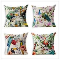 almofadas vintage pássaro venda por atacado-Vintage Início Decorativo Travesseiro De Alta Qualidade De Linho De Algodão Flamingos Papagaio Fronha Lily Flores Aves sofá almofada 45x45 cm QL1