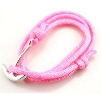 lindos regalos de ancla al por mayor-Alta popularidad unisex pulsera diseño de forma de ancla con cadena de cuerda rosa Regalo de cumpleaños lindo aleación de zinc proporcionar Dropshipping