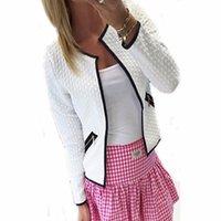 jaqueta de casaco de manga curta venda por atacado-Primavera Mulheres Outono Jacket Manga comprida básica Zipper bolsos do casaco Feminino de Slim curto Cardigan Casual Tamanho Casacos Além disso,