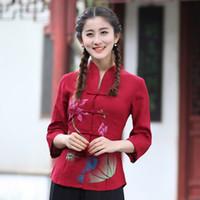 kırmızı çince elbiseleri toptan satış-2018 Sıcak Satış Yeni Varış Moda Kırmızı Bayan Pamuk Keten Gömlek Geleneksel Çin tarzı Bluz tang Giyim Tops