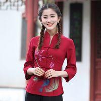 top estilo chino tradicional al por mayor-2018 Venta Caliente Nueva Llegada de Moda Rojo Para Mujer de Algodón de Lino Camisa Tops estilo Chino Tradicional Blusa ropa tang