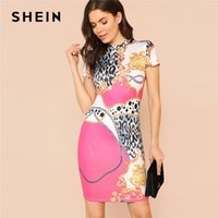 Wholesale mock neck dress - SHEIN Mock Neck Bodycon Dress Women Stand Collar Short Sleeve Floral, Polka Dot Leopard Pencil Dress 2018 Sexy Party