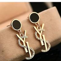 Wholesale women earrings free shipping - New Luxury Brand Designer Stud Earrings Letters Ear Stud Earring Jewelry Accessories for Women Wedding Gift Free Shipping