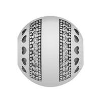 kristall herz armband großhandel-Authentische 925 Sterling Silber Pan Logo Herzen Mit Kristall Clip Lock Stopper Perle Charme Pandora Armband Armband DIY Schmuck Zubehör
