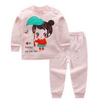 pijama desenleri toptan satış-Çocuklar Bebek Kız Giyim Setleri Karikatür Desen Uzun Kollu Pijama Pijama Bebek Yürüyor Çocuk Kız Erkek Rahat Için Setleri