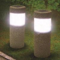 Wholesale garden solar stone - Solar Power Stone Pillar White LED Solar Lights Outdoor Garden Light Lawn Lamp Court yard Decoration Lamp 5W