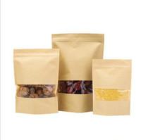 sacs alimentaires en papier kraft achat en gros de-100 pièces Sacs Barrière anti-humidité avec fenêtre transparente Brown Kraft Paper Doypack Pouch Ziplock Emballage