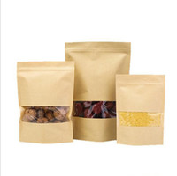 мешки для продуктов оптовых-100 частей сумки барьера влаги еды с ясным окном коричневая бумага Крафт мешок Дойпак зиплок упаковывая мешок запечатывания